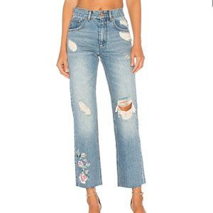 NWT Anine Bing Floral High Rise Straight Jeans 27